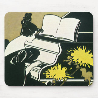 Tapis De Souris Musique vintage, Mlle Traumerei Playing Piano,
