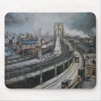 Tapis De Souris New York City vintage peignant le pont de Brooklyn