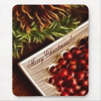 Tapis De Souris Noël de canneberge de fractale avec le texte