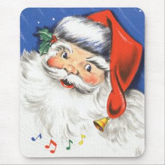 Tapis De Souris Noël vintage, le père noël gai avec la musique