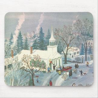 Tapis De Souris Noël vintage, les gens allant à l'église dans la