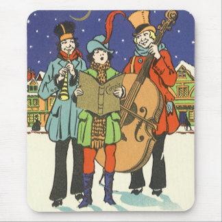 Tapis De Souris Noël vintage, musiciens Caroling avec la musique