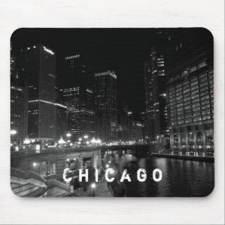 Tapis De Souris Noir et blanc de vue de nuit de Chicago l'Illinois