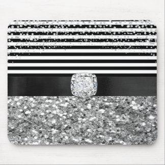 Tapis De Souris Noir fascinant et le blanc barre des diamants de