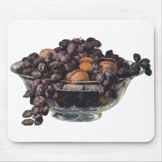 Tapis De Souris Nourritures vintages, noix et amandes, fruit et