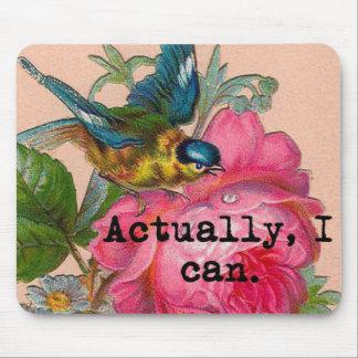 Tapis De Souris Oiseau vintage de mousepad féministe avec floral