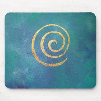 Tapis De Souris Or en spirale bleu lumineux d'infini d'archer de