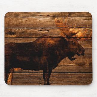 Tapis De Souris orignaux en bois de taureau de faune affligés par