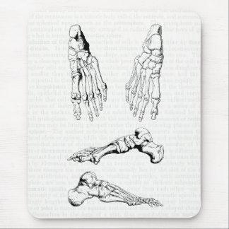 Tapis De Souris Os humains d'anatomie de vieil art médical du pied
