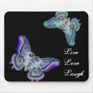 Tapis De Souris Papillons pourpres et bleus - rire vivant d'amour