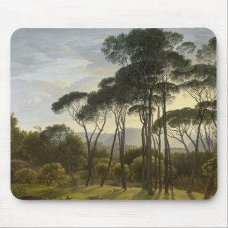 Tapis De Souris Paysage italien avec la peinture à l'huile de pins