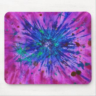 Tapis De Souris Peinture pourpre bleue rose d'art abstrait