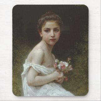 Tapis De Souris Petite fille avec un bouquet