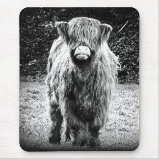 Tapis De Souris Photo des montagnes hirsute de vache (noir et