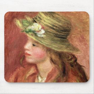 Tapis De Souris Pierre une jeune fille de Renoir   dans un chapeau