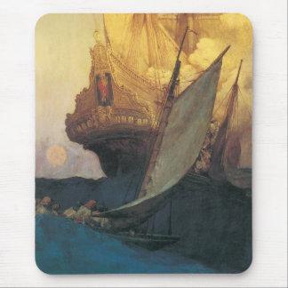 Tapis De Souris Pirate vintage, attaque sur un galion par Howard