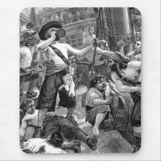 Tapis De Souris Pirates vintages combattant et buvant sur le