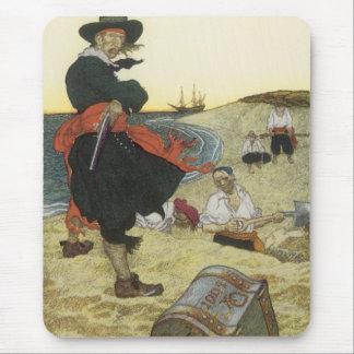 Tapis De Souris Pirates vintages, William Kidd enterrant le trésor