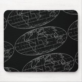 Tapis De Souris planisphere/cartes noirs et blancs