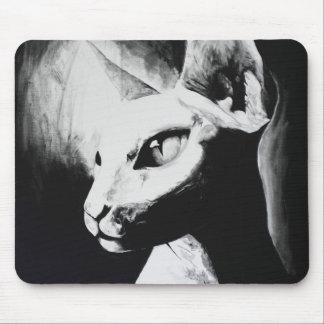 Tapis De Souris Portrait animal blanc noir chauve de chat de