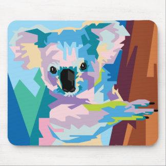 Tapis De Souris Portrait coloré de koala d'art de bruit