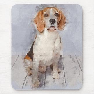 Tapis De Souris Portrait mignon d'aquarelle de beagle