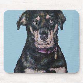 Tapis De Souris Portrait noir de dessin de chien de rottweiler
