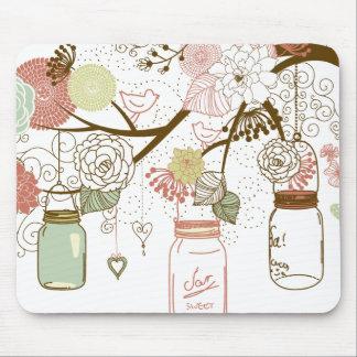 Tapis De Souris Pots de maçon et jolies fleurs