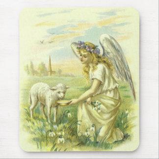 Tapis De Souris Religion vintage, ange victorien de Pâques avec