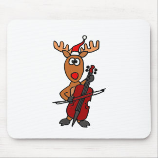 Tapis De Souris Renne drôle jouant Noël de violoncelle