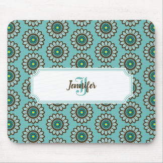 Retro Stylized Teal Flower Mousepad with Monogram