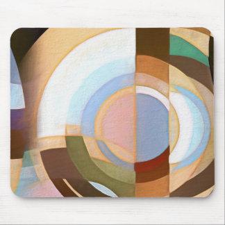 Tapis De Souris Rétro mod Brown et motif bleu de cercle de Grapic