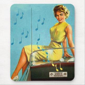Tapis De Souris Rétro radio vintage de rock de les années 50 de