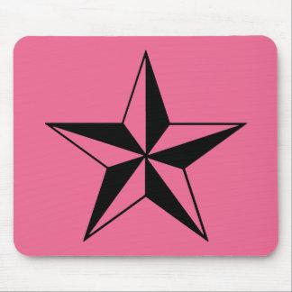 Tapis De Souris Rétros étoiles roses et noires