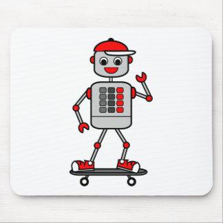 Tapis De Souris Robot de bande dessinée souriant sur la planche à