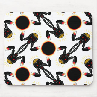 Tapis De Souris Robot noir avec le motif rougeoyant de cerveau