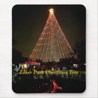 Tapis De Souris Rondin de Noël, arbre de Noël de parc de Zilker