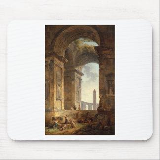 Tapis De Souris Ruines avec un obélisque dans la distance par