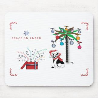 Tapis De Souris Salutations de vacances de paix, palmier, chien
