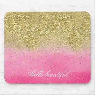 Tapis De Souris Scintillement rose d'or de Faux d'aquarelle beau