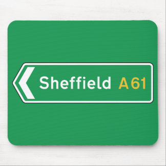 Tapis De Souris Sheffield, panneau routier BRITANNIQUE