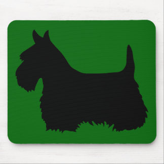 Tapis De Souris Silhouette noire de Terrier d'écossais, vert d'île