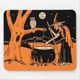 Tapis De Souris sorcière vintage de Halloween des années 1940 avec