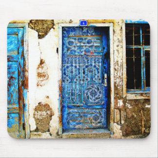 Tapis De Souris Style rustique de porte grecque bleue vintage