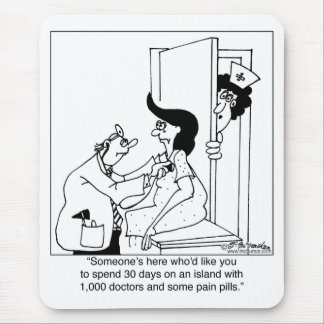 Tapis De Souris Sur une île avec 1.000 médecins et pilules de