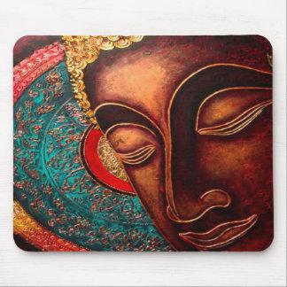 Tapis De Souris Tête en bronze de Bouddha et Madala coloré