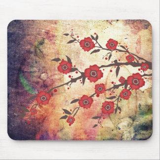 Tapis De Souris Texture et rouge de fleur