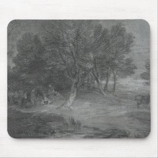Tapis De Souris Thomas Gainsborough - paysage boisé avec le gitan