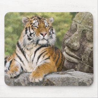 Tapis De Souris Tigre et temple bouddhiste