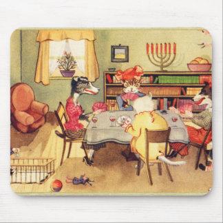 Tapis De Souris Tisonnier vintage de cartes de jeu de chats et de